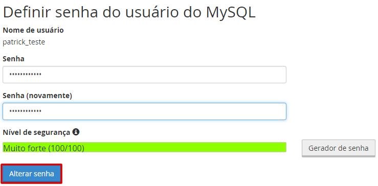 Definir senha do usuário do MySql