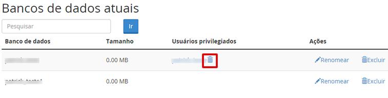 Remover usuário do banco de dados